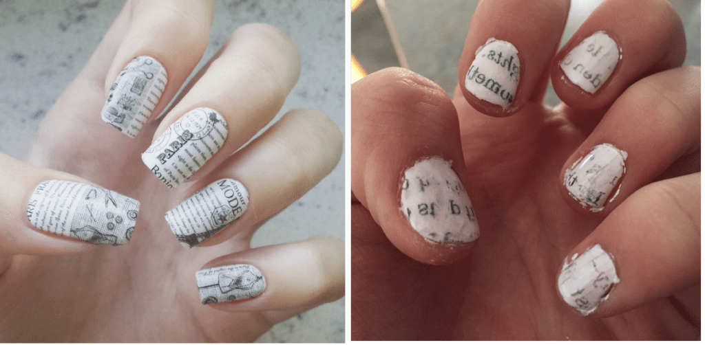 Newspaper Nail Art With Nail Polish Remover - Creative Touch